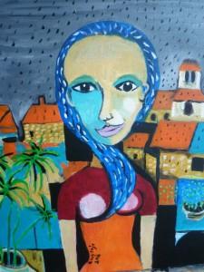 femme sous la pluie à Treslon